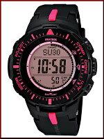 CASIO/PROTREK【カシオ/プロトレック】ソーラー腕時計トリプルセンサー搭載ラバーベルトブラック/ピンク(海外モデル)PRG-300-1A4