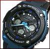 CASIO/G-SHOCK【カシオ/Gショック】G-STEEL/Gスチールソーラー電波腕時計メンズブラック/ブルー文字盤ブラックラバーベルト(国内正規品)GST-W300G-1A2JF