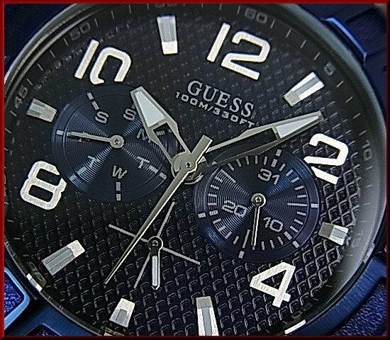 GUESS/RIGOR【ゲス/リガー】メンズ腕時計 マルチファンクション ブラックケース ネイビー文字盤 ネイビーラバーベルトW0248G5(国内正規品)