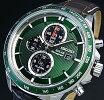 SEIKO/AlarmChronograph【セイコー/アラームクロノグラフ】メンズソーラー腕時計ブラウンレザーベルトグリーン文字盤SSC501P1海外モデル