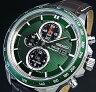 SEIKO/Alarm Chronograph【セイコー/アラームクロノグラフ】メンズ ソーラー腕時計 ブラウンレザーベルト グリーン文字盤 SSC501P1 海外モデル