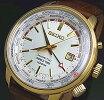SEIKO/KINETIC【セイコー/キネティック】GMTメンズ腕時計ゴールドケースシルバー文字盤ブラウンレザーベルト(海外モデル)SUN070P1