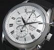 SEIKO/AlarmChronograph【セイコー/アラームクロノグラフ】メンズ腕時計シルバー文字盤ブラックレザーベルトSNAF69P1海外モデル