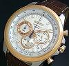 SEIKO/Chronograph【セイコー/クロノグラフ】メンズ腕時計ブラウンレザーベルトシルバー/ピンクゴールド文字盤SSB250P1海外モデル
