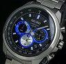 SEIKO/Chronograph【セイコー/クロノグラフ】メンズ腕時計 メタルベルト ブラック/ブルー文字盤 SSB243P1 海外モデル