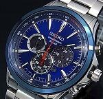 SEIKO/Chronograph【セイコー/クロノグラフ】メンズソーラー腕時計メタルベルトネイビー/ブラック文字盤SSC495P1海外モデル