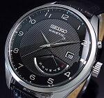 SEIKO/KINETIC【セイコー/キネテック】メンズ腕時計レトログラードブラックレザーベルトブラック文字盤海外モデルSRN051P1