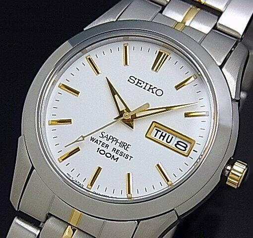 SEIKO/Quartz【セイコー/クォーツ】メンズ腕時計 コンビメタルベルト ホワイト文字盤 SGG719P1 海外モデル【並行輸入品】