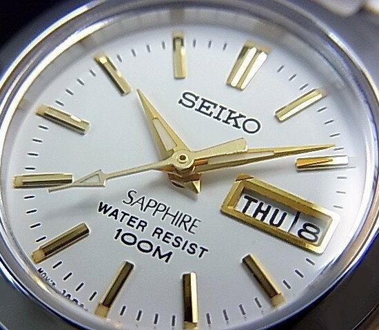 SEIKO/Quartz【セイコー/クォーツ】ペアウォッチ 腕時計 メタルベルト ブラック/ホワイトxゴールド 文字盤 SGG715P1/SXA103P1 海外モデル【並行輸入品】