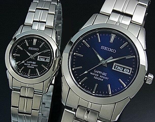 SEIKO/Quartz【セイコー/クォーツ】ペアウォッチ 腕時計 メタルベルト ネイビー/ブラック 文字盤 SGG717P1/SXA099P1 海外モデル【並行輸入品】