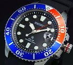SEIKO/PROSPEX【セイコー/プロスペックス】メンズDIVER'S/ダイバーズウォッチソーラー腕時計ブルー/レッドベゼルブラックラバーベルトブラック文字盤海外モデルSNE439P1
