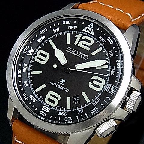 SEIKO/PROSPEX【セイコー/プロスペックス】自動巻 メンズ腕時計 ブラウンレザーベルト ブラック文字盤 海外モデル【並行輸入品】 SRPA75K1