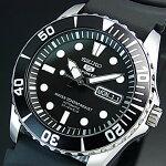 SEIKO/SEIKO5Sports【セイコー5スポーツ/ファイブスポーツ】自動巻メンズ腕時計ブラックラバーベルトブラック文字盤MADEINJAPAN海外モデルSNZF17J2