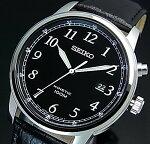 SEIKO/KINETIC【セイコー/キネテック】メンズ腕時計ブラックレザーベルトブラック文字盤海外モデル【並行輸入品】SKA781P1