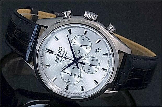 SEIKO/Chronograph【セイコー/クロノグラフ】メンズ腕時計 ネイビーレザーベルト シルバー文字盤 海外モデル【並行輸入品】SSB291P1