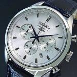 SEIKO/Chronograph【セイコー/クロノグラフ】メンズ腕時計ネイビーレザーベルトシルバー文字盤海外モデル【並行輸入品】SSB291P1