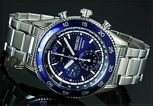 SEIKO/Chronograph【セイコー/クロノグラフ】メンズ腕時計 ネイビーベゼル メタルベルト ネイビー文字盤 海外モデル【並行輸入品】SNDG55P1