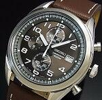 SEIKO/Chronograph【セイコー/クロノグラフ】メンズ腕時計ブラウンレザーベルトダークブラウン文字盤海外モデル【並行輸入品】SSB275P1