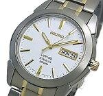 SEIKO/Quartz【セイコー/クォーツ】軽量チタンモデルメンズ腕時計コンビメタルベルトホワイト/ゴールド文字盤SGG733P1海外モデル【並行輸入品】