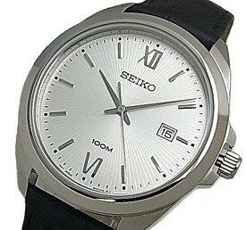 SEIKO/Quartz【セイコー/クォーツ】メンズ腕時計 ブラックレザーベルト シルバー文字盤 海外モデル【並行輸入品】 SUR283P1