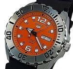SEIKO/SEIKO5Sports【セイコー5スポーツ/ファイブスポーツ】自動巻メンズ腕時計ブラックラバーベルトオレンジ文字盤MADEINJAPAN海外モデル【並行輸入品】SRPB39J1