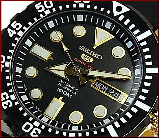 SEIKO/SEIKO5 Sports【セイコー5スポーツ/ファイブスポーツ】自動巻 メンズ腕時計 ゴールドケース ラバーベルト ブラック文字盤 SRP608J1 MADE IN JAPAN 海外モデル【並行輸入品】