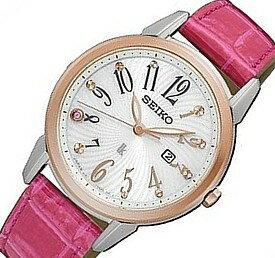 SEIKO/LUKIA【セイコー/ルキア】レディース ソーラー腕時計 ホワイト文字盤 ピンクレザーベルト SUT306J1 海外モデル【並行輸入品】