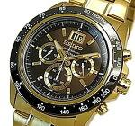 SEIKO/LORD【セイコー/ロード】クロノグラフメンズ腕時計ゴールドメタルベルトブラウン/ゴールド文字盤海外モデル【並行輸入品】SPC236P1