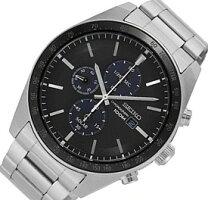 SEIKO/Chronograph【セイコー/クロノグラフ】メンズソーラー腕時計メタルベルトブラック文字盤SSC715P1海外モデル【並行輸入品】