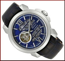 SEIKO/Premier【セイコー/プルミエ】自動巻スケルトンメンズ腕時計ネイビーレザーベルトネイビー文字盤MADEINJAPAN海外モデル【並行輸入品】SSA399J1