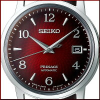 SEIKO/Presageメカニカル【セイコー/プレサージュ】自動巻メンズ腕時計ダークレッド文字盤ダークブラウンレザーベルトMadeinJapan海外モデル【並行輸入品】SRPE41J1