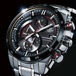 CASIO/EDIFICE【カシオ/エディフィス】ソーラー腕時計クロノグラフメンズブラック/レッド文字盤メタルベルト海外モデル【並行輸入品】EQS-600DB-1A4