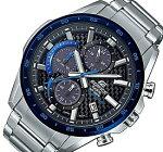 CASIO/EDIFICE【カシオ/エディフィス】ソーラー腕時計クロノグラフメンズネイビーベゼルカーボンファイバー文字盤メタルベルト海外モデル【並行輸入品】EQS-900DB-2AV