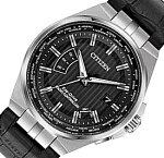 CITIZEN【シチズン】メンズソーラー電波腕時計ブラック文字盤ブラックレザーベルト海外モデル【並行輸入品】CB0160-00E