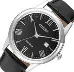 CITIZEN/Standard【シチズン/スタンダード】メンズソーラー腕時計ブラック文字盤ブラックレザーベルト海外モデル【並行輸入品】AW1231-07E