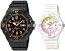 CASIO/Standard【カシオ/スタンダード】アナログクォーツ ペアウォッチ 腕時計 ラバーベルト ブラック/ホワイト 海外モデル【並行輸入品】MRW-200H-4B/LRW-200H-4E2・・・