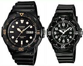 CASIO/Standard【カシオ/スタンダード】アナログクォーツ ペアウォッチ 腕時計 ラバーベルト ブラック 海外モデル【並行輸入品】MRW-200H-1E/LRW-200H-1B
