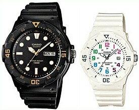CASIO/Standard【カシオ/スタンダード】アナログクォーツ ペアウォッチ 腕時計 ラバーベルト ブラック/ホワイト 海外モデル【並行輸入品】MRW-200H-1E/LRW-200H-7B