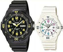 CASIO/Standard【カシオ/スタンダード】アナログクォーツ ペアウォッチ 腕時計 ラバーベルト ブラック/ホワイト 海外モデル【並行輸入品】MRW-200H-9B/LRW-200H-7B