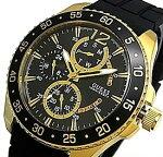 GUESS/JET【ゲス/ジェット】メンズ腕時計マルチファンクションゴールドケースブラック文字盤ブラックラバーベルト【送料無料】W0798G3(国内正規品)