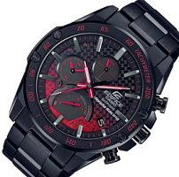 CASIO/EDIFICE【カシオ/エディフィス】ソーラークロノグラフモバイルリンクメンズ腕時計ホンダレーシングコラボブラックメタルベルト海外モデル【並行輸入品】EQB-1000HR-1A