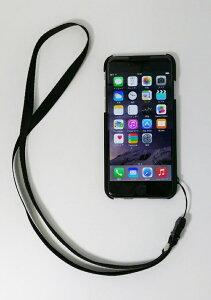 iPhone6用ラバーコーティングケースネックストラップ付(4.7)BI-IP6/BK(ブラック)【送料無料】