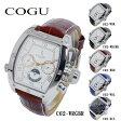 コグ COGU 自動巻き メンズ 腕時計 C62-WRGBR ホワイト-ローズゴールド/ブラウン