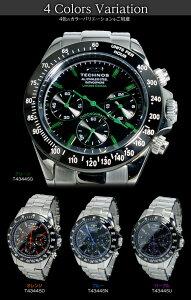 【】テクノスTECHNOSクオーツメンズクロノ腕時計T4344SG