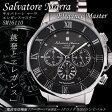 【送料無料】サルバトーレ マーラ 電波ソーラー クロノ クオーツ メンズ 腕時計 SM16110-SSBKSV ブラック/シルバー