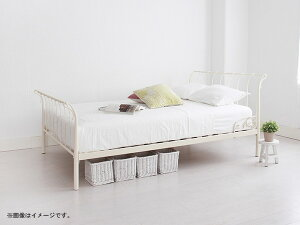 【送料無料】カーリーアンティークアイアンソフトポケットマット付きSシングルWHホワイト(き)