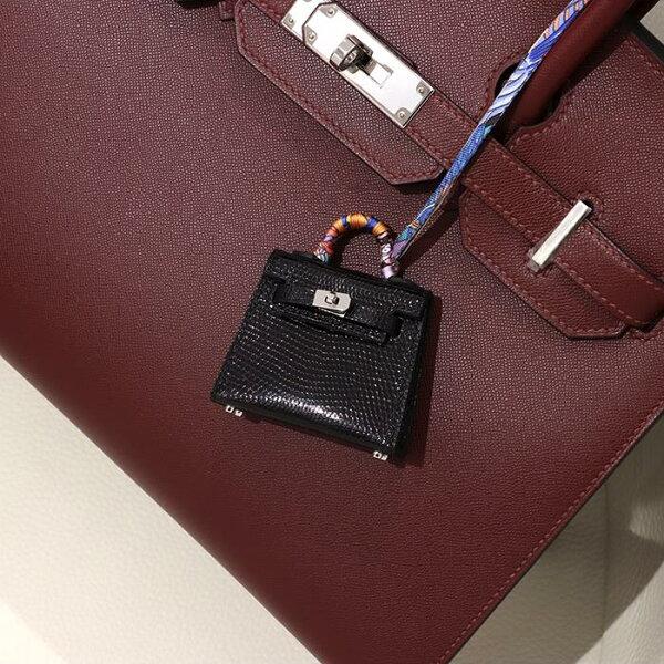 エルメスケリーツイリーチャーム(ケリートゥイリーチャーム)リザードブラックシルバー金具HERMES新品レディース腕時計
