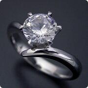 1カラット版:6本爪Vラインタイプの婚約指輪