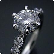 1カラット版:6本爪サイド2Pメレデザインの婚約指輪