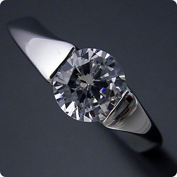 【婚約指輪】1カラット【1ct】ダイヤモンド【エンゲージリング】プラチナ【ブライダルジュエリー】結婚指輪【マリッジリング】受注生産品【1カラット版:もの凄くスタイリッシュなデザインの婚約指輪】Dカラー・VVS1クラス・Excellentカット【宝石鑑定書付き】